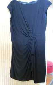 New Jones New York Black  Polyester Solids Jersey Rosette Cascade Dress 20W $134
