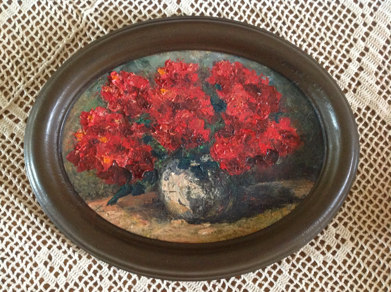 "Oil Painting �Roses�Fine Art Oil Painting- Size: 6"" x  8"" (15 cm x 20 cm)"