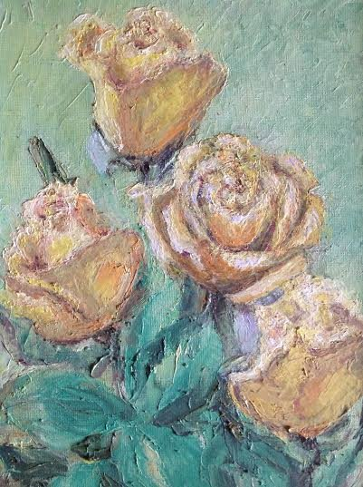 "Oil Painting�Yellow Roses�Fine Art Oil Painting-Size: 14"" x  10""(35 cm x 25 cm)"
