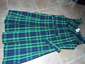girls green school uniform plaid dress 10 M