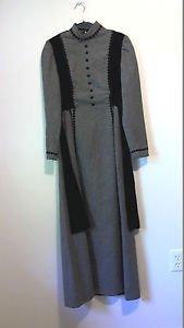 grey wool black velvet lace vintage dress