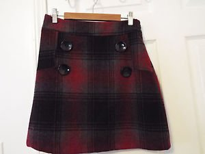 black and red wool plaid tartan skirt junior xs