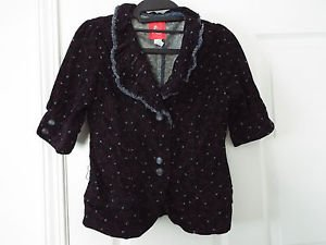 lux corduroy retro cherries fringe navy blue blazer small s