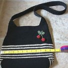 Liz Claiborne macrame retro cherries black white purse