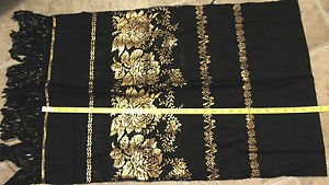 vintage shawl Top Hit wool gold metallic bows MADE IN JAPAN