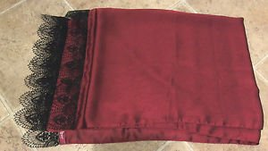 Turkish shawl hijab scarf double-layer red maroon with black lace
