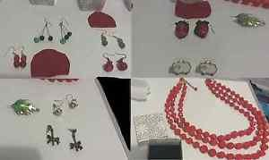 Jewelry LOT handmade glass and vintage brass earrings necklace brooch