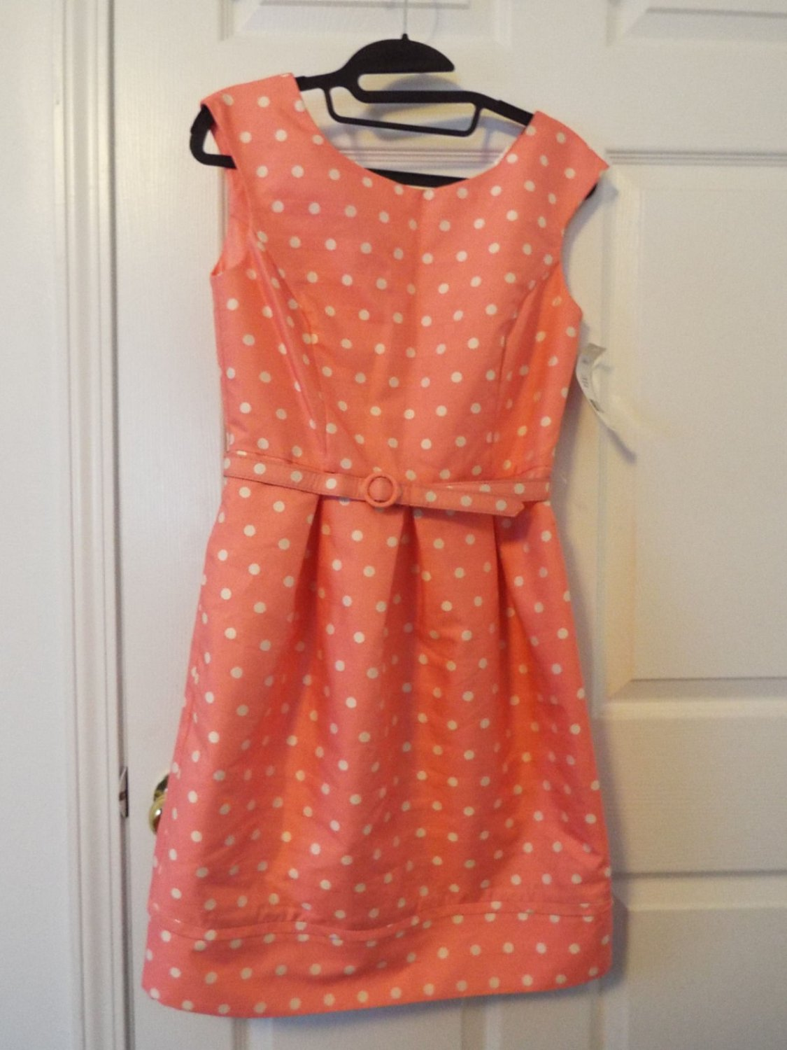 Eliza J peach retro polka dot dress