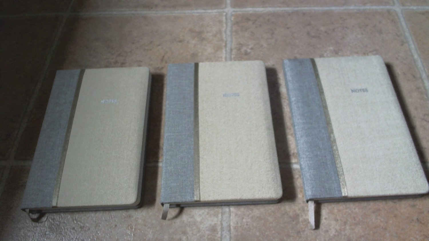set of three cloth fabric journals blank notebooks