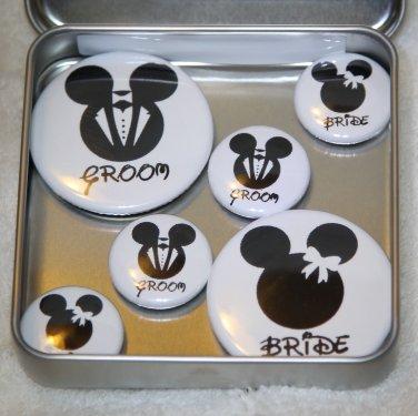 Mickey & Minnie Bride & Groom Foil Magnet Set