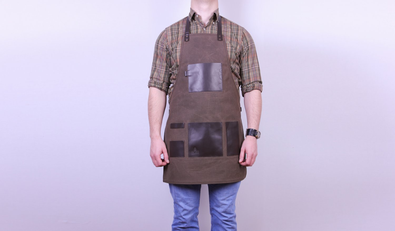 Comfortable apron handmade Leather & Waxed canvas apron