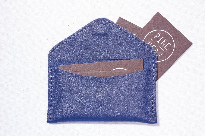 Blue Business card Visit card wallet Leather card case