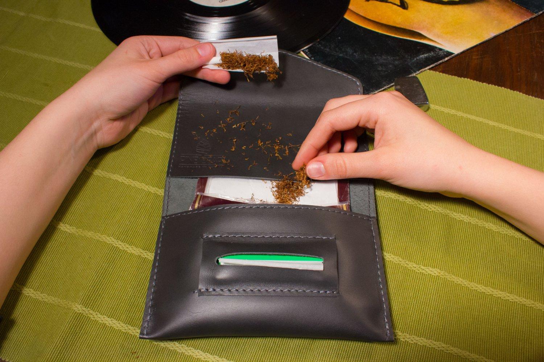 Grey tobacco pouch Handmade tobacco pouch