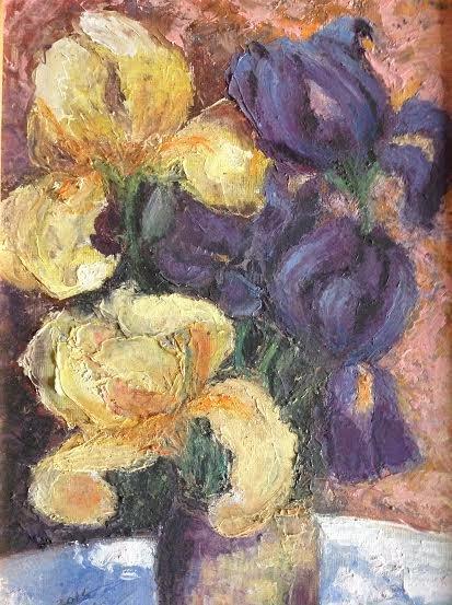 """Oil Painting �Pansies�Fine Art Oil Painting-Size: 12"""" x  8"""" (30 cm x 20 cm)"""