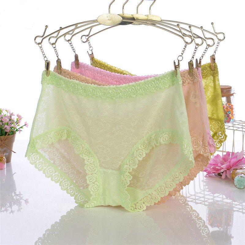 #324 Mixed colors 5pcs sexy lace ladies underwear ransparent mesh panties underpants