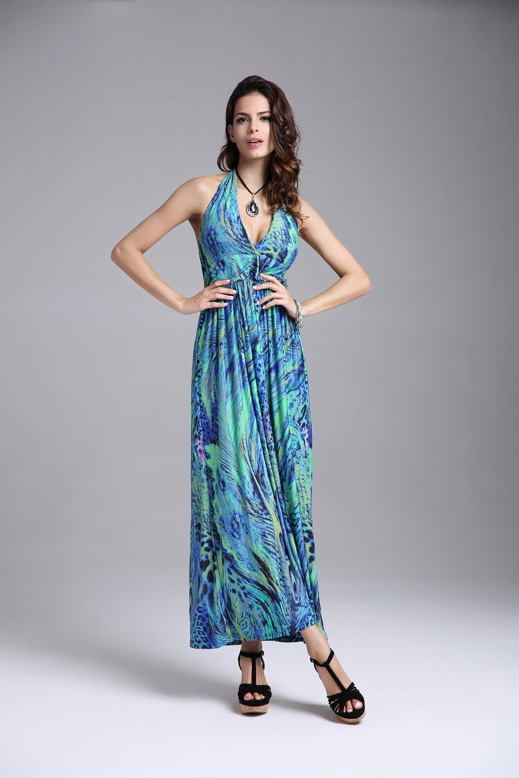 Women's summer fashion halter-neck backless Bohemia peacock flower maxi dresses