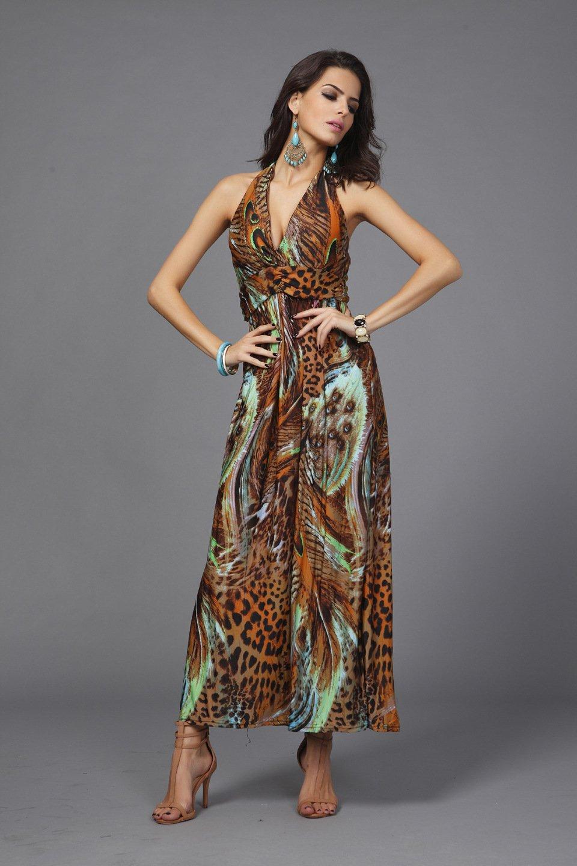 Brown Women's summer clothing beachwear halter-neck backless Bohemia peacock flower maxi dresses