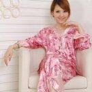 Women sexy underwear faux satin 3/4 sleeve v-neck bowknot pajamas set sleepwear suit #322