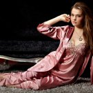 #8306 Women's clothing faux satin high quailty sexy sleepwear set (robe + tops + pants) pajamas set