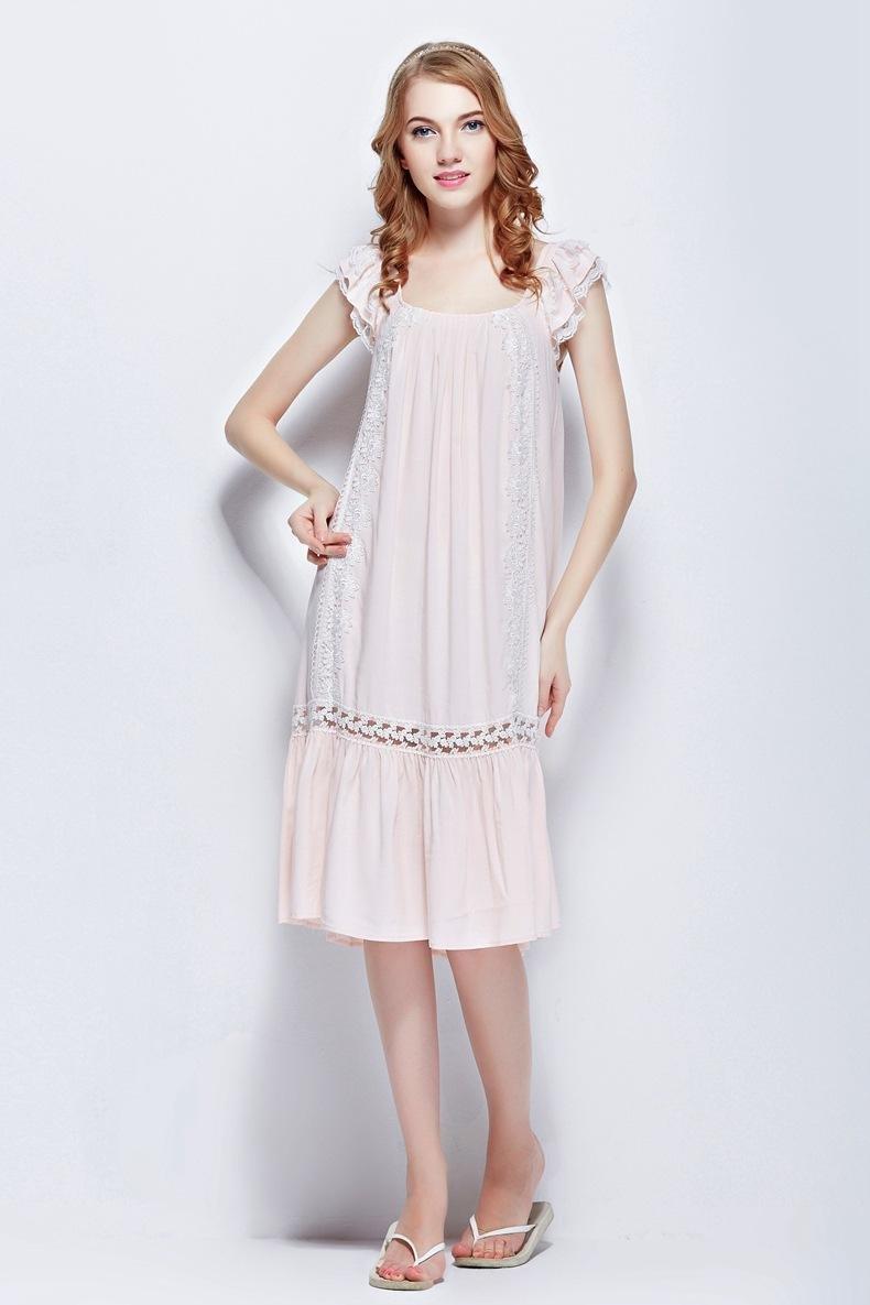 Pink 100% cotton women's clothing sexy lace sleeveless sleepwear nightgowns