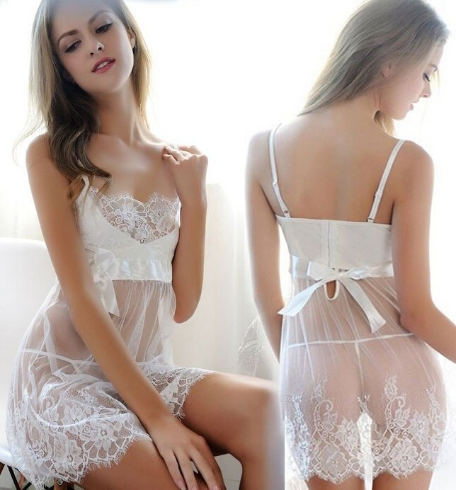 #3322 large size Sexy women Lingerie white bride suit see through transparent charming baby dolls