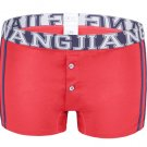 #5006PJ Red Men's underwear cotton U bag 3D pouch low rise buttons opening underpants boxer briefs