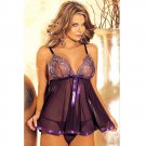#4013 Sequins mesh lace Women's sexy lingerie nightie sleepwear pajamas baby dolls chemise