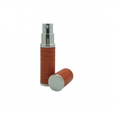 Orange Leather Refillable Perfume Travel Atomisers boxed