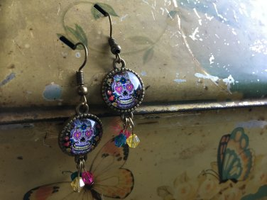 Sugar skull cabochon earrings