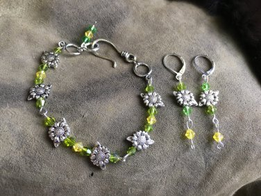 Sunflower bracelet and earrings set