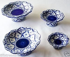 """Lot 4 CERAMIC PLATTER w/ STAND Thai Asian Blue White PLATE 3"""" 4"""" 5"""" 6"""" MICROWAVE"""