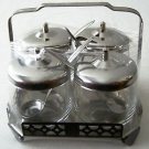 CONDIMENT CADDY Set GLASS & STAINLESS STEEL Imported FOUR Jars Lids Spoons +Base