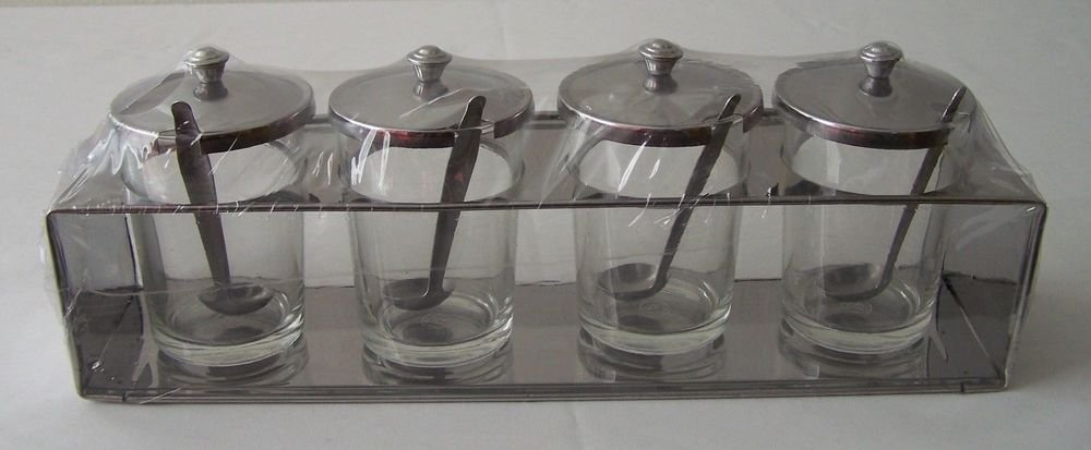 CONDIMENT TRAY Set GLASS & STAINLESS STEEL Imported FOUR Jars Lids Spoons +Base