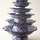 "Lot 7 CERAMIC PLATTER STAND Thai Asian BLUE WHITE 3"" 4"" 5"" 6"" 7"" 8"" 9"" MICROWAVE"