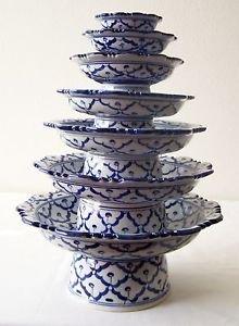 "Lot 7 CERAMIC PLATTER STAND Thai Asian BLUE WHITE 3"" 4"" 5"" 6"" 7"" 8"" 9"" MICROWAVE"