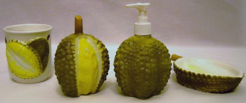 Tropical Fruit 4-pc BATH SET Durian CUP Lotion Dispenser SOAPDISH Toothbrush Hol