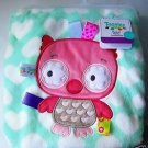BABY BLANKET Nursery Owl with Satin Ribbons Seafoam White Pink SUPER SOFT ~ NEW