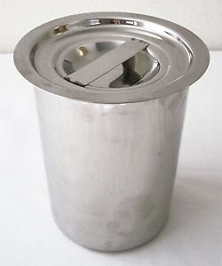 """5"""" Stainless Steel FOOD CONTAINER + LID Utensils Flour Soup Stock STORAGE ~ NEW"""