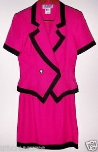 LA BELLE FASHIONS INC Womens HOT PINK & BLACK OUTFIT Buttoned Top w/ Skirt Sz. 5
