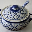 "CERAMIC BOWL Asian Thai Blue & White MICROWAVE Bowl + Lid + Spoon 8.25"" Diameter"