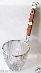 NOODLE SKIMMER DIPPER w/ Flat Wood Handle STRAINER Lifter SIFTER Stainless Steel