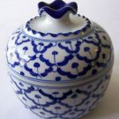 Ceramic HAND-PAINTED BOWL w/ LID Thai Asian SOUP DESSERT RICE etc. Blue & White