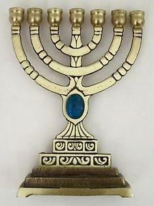 Brass MENORAH CANDLE LIGHT HOLDER 7 Branch TURQUOISE Stone Candlestick fr ISRAEL
