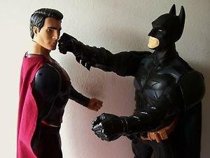 """LOT of 2 XL BATMAN & SUPERMAN Action Figure Doll DC  30"""" TALL & 31"""" TALL Fight !"""