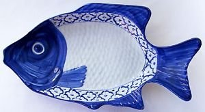 "CERAMIC Perch Fish Shaped PLATE Thai Asian Blue White PLATTER 15.5""x8"" MICROWAVE"