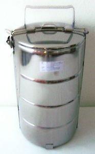 4 TIER Stainless Steel FOOD CARRIER x2 TIFFIN 4 Container LUNCH / BENTO BOX 14cm