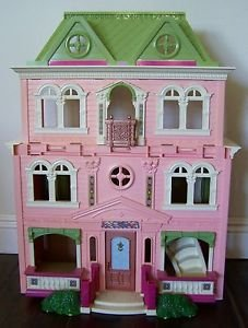 Fisher Price HUGE DOLLHOUSE Play Set PINK GREEN Balcony Stairs 3 STORIES Folding