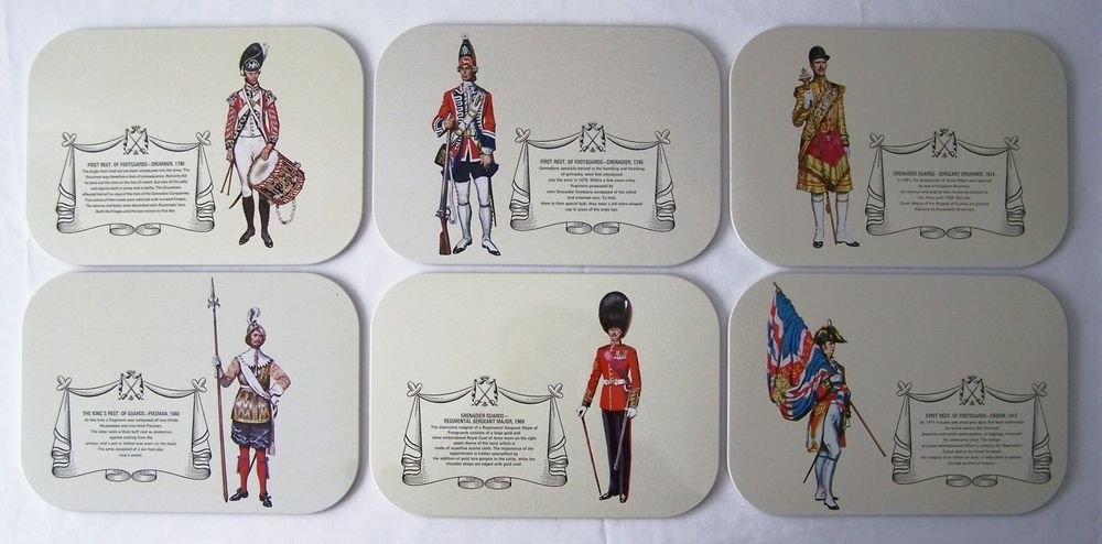 British Military Uniform TRIVET x6 ~ Set of 6 Trivets ~ HOT PAD Collectible EUC