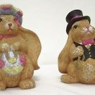 Bunny Rabbit FIGURINE ~ Set of 2 Figurines ~ Dressed up Rabbit Couple ADORABLE !