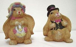 Bunny Rabbit FIGURINE ~ Set of 2 Figurines ~ Dressed up Rabbit Couple ADORABLE !